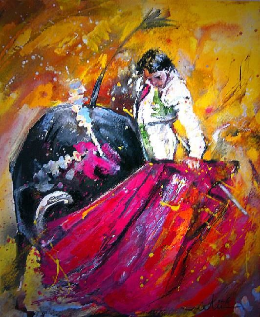 Painting,  28 x 35 cm ©2006 by Miki de Goodaboom -  Painting, Impressionism, Corrida bullfight watercolour toro bullfighting art