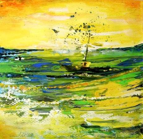 Bathed in Golden light - Painting,  9.1x9.1 in, ©2004 by Miki de Goodaboom -                                                                                                                                                                          Figurative, figurative-594, Acrylics paintings nature towns Miki impressions painting fantasy seascape boats sea painting