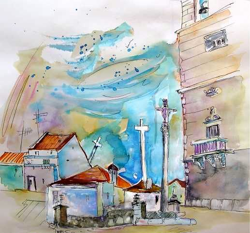 Houses in Vila do Conde - Painting, ©2008 by Miki de Goodaboom -                                                                                                                                                                          Figurative, figurative-594, paintings Portugal watercolour  travel sketches  ink drawings art  landscape paintings town painting  sketch boats aquarelle people figures