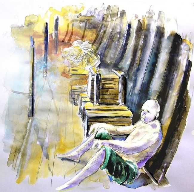Galley Slave in Vila do Conde - Painting, ©2008 by Miki de Goodaboom -                                                                                                                                                                          Figurative, figurative-594, paintings Portugal watercolour  travel sketches  ink drawings art  landscape paintings town painting  sketch boats aquarelle people figures