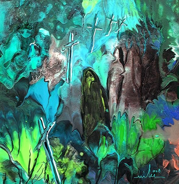 First Crosses - Painting ©2008 by Miki de Goodaboom -                            Surrealism, fantasy aquarelle watercolour ink trees figures Miki acrylic monotype nudes eroticism acrylics acrylic bigbang creation painting nature flowers