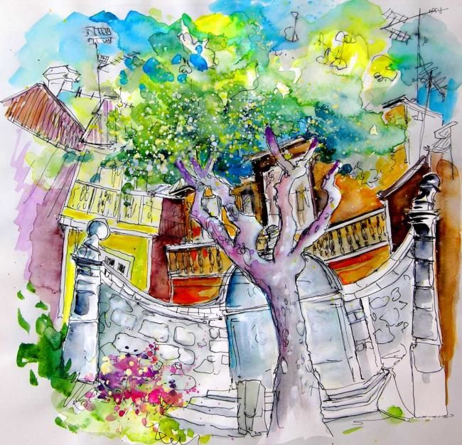 Tree in Chavez - Painting, ©2008 by Miki de Goodaboom -                                                                                                                                                                          Figurative, figurative-594, paintings Portugal watercolour  travel sketches  ink drawings art  landscape paintings town painting  sketch boats aquarelle people figures