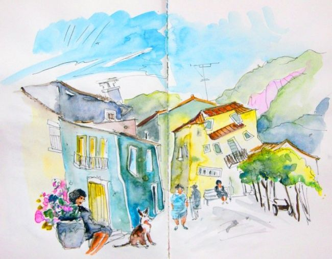 Houses in Barca de Alva - Painting, ©2008 by Miki de Goodaboom -                                                                                                                                                                          Figurative, figurative-594, paintings Portugal watercolour  travel sketches  ink drawings art  landscape paintings town painting  sketch boats aquarelle people figures