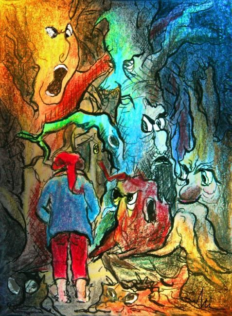Bubble Boy - 21 - - Painting, ©2009 by Miki de Goodaboom -                                                              Literature short story Bubble Boy stories for children illustrated stories ink coloured pencils tales for children  Miki witches stories witchcraft