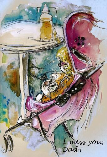 Painting ©2009 by Miki de Goodaboom -  Painting, watercolour and ink sketch of a baby girl eating