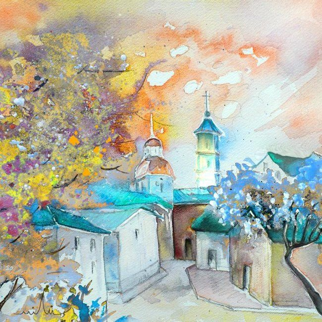 By Teruel 03 2008 - Painting, ©2008 by Miki de Goodaboom -                                                                                                                                                                          Figurative, figurative-594, Water colour painting and travel sketch of a village by Teruel in Spain by French artist Miki