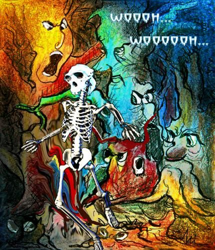 Woooh wooooooh - Painting, ©2009 by Miki de Goodaboom -                                                                                                                                                                          Figurative, figurative-594, ecard for Halloween featuring a funny skeleton