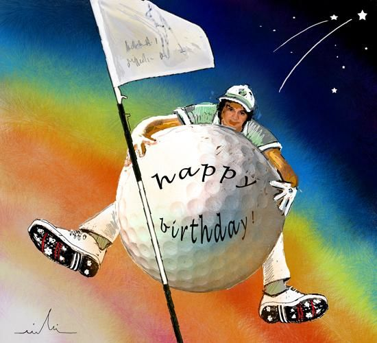 Golfing Happy Birthday - Malerei, ©2009 von Miki de Goodaboom -                                                              Funny birthday golf painting featuring a golfer flying on a golf ball like Baron Munchhausen