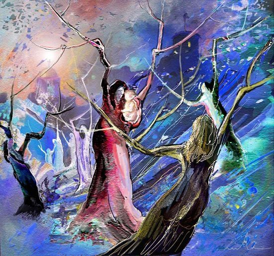 The Messiah is Born - Painting, ©2010 by Miki de Goodaboom -                                                              Modern Fanyasay painting of The Birth of Jesus