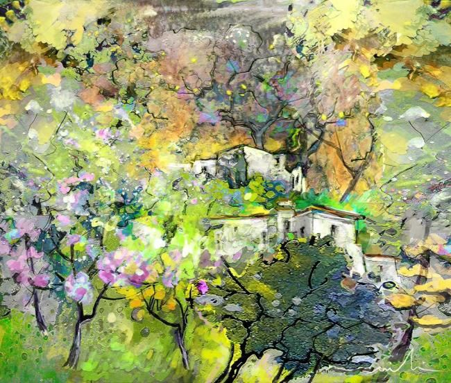 Impression de Provence 07 - Painting, ©2010 by Miki de Goodaboom -                                                                                                                                                                          Figurative, figurative-594, Colourful modern painting of a Provence landscape with house and trees and flowers