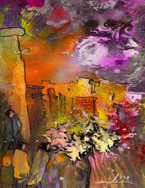 Impression de Provence 14 - Painting, ©2010 by Miki de Goodaboom -                                                                                                                                                                          Figurative, figurative-594, Fantasy Colourful modern painting of a Provence landscape with house and trees and flowers