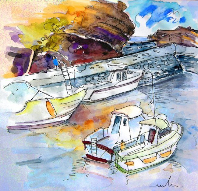 Biarritz 12 - Painting, ©2010 by Miki de Goodaboom -                                                              Watercolour and ink travel drawing from Biarritz in the Pyrenees Atlantiques in the South of France
