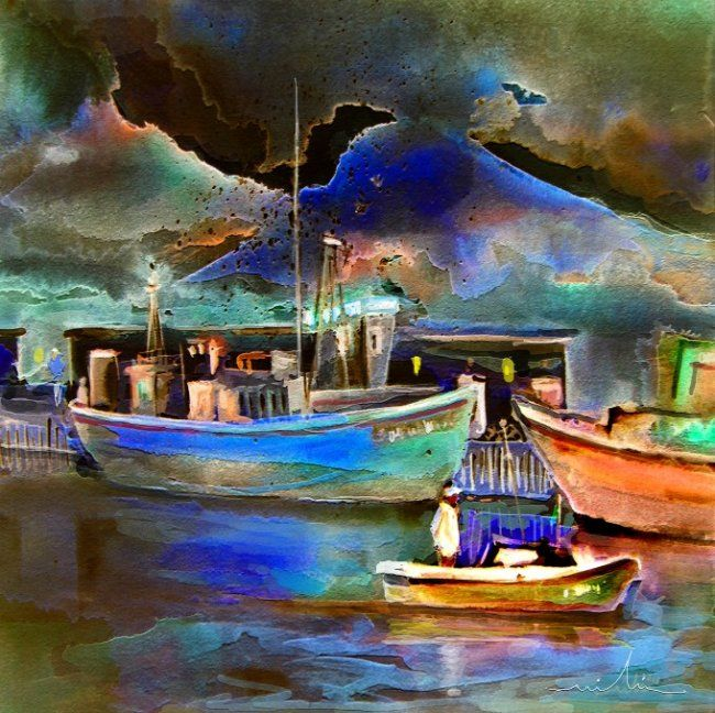 Calpe 01 - Painting, ©2010 by Miki de Goodaboom -                                                                                                                                                                          Figurative, figurative-594, Seascape painting of boats and mountains in Calpe Costa Blanca in Spain
