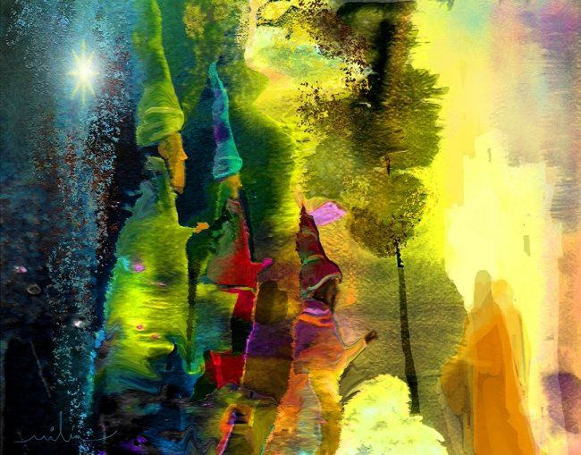 The Three Magi - © 2010 Fantasy Colourful modern painting of the three Kings and the Bethlehem star Online Artworks
