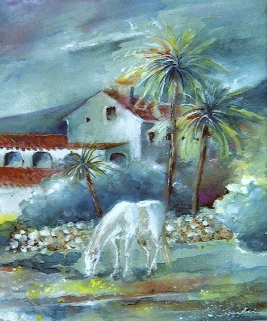 Finca in Benidorm - Painting, ©2010 by Miki de Goodaboom -                                                                                                                                                                          Figurative, figurative-594, Gouache painting of a finca with horse by Benidorm Alicate Spain