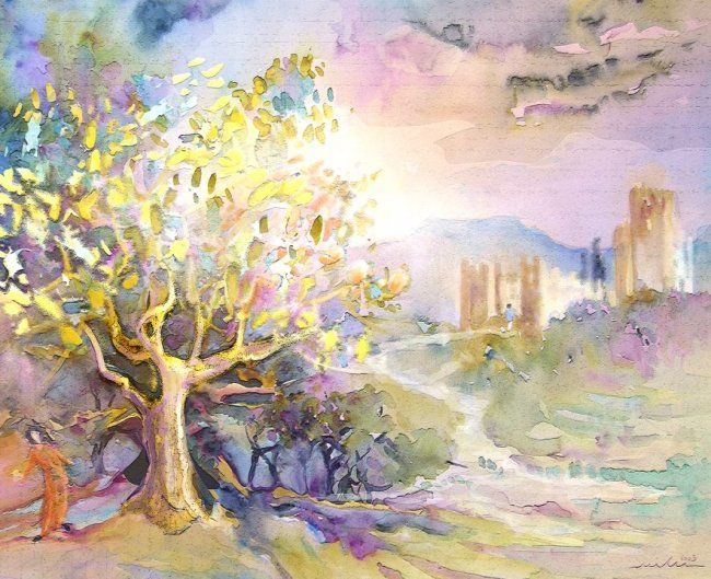 Somewhere in Andalucia 01 - Painting, ©2010 by Miki de Goodaboom -                                                                                                                                                                          Figurative, figurative-594, Watercolour and ink painting of trees and a castle somewhere in Andalucia Spain