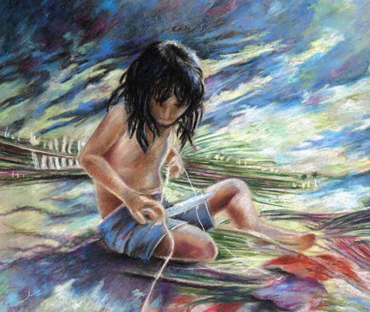 Tahitian Boy with Knife - Painting, ©2010 by Miki de Goodaboom -                                                                                                                                                                                                                                                                                                                                                                                                                                                                                                                                                                                                                                                          travel, art, polynesia, french, tahiti, boy, boys, tahitian boy, knife, impressionism, expressionism, pastel, nature, leaves