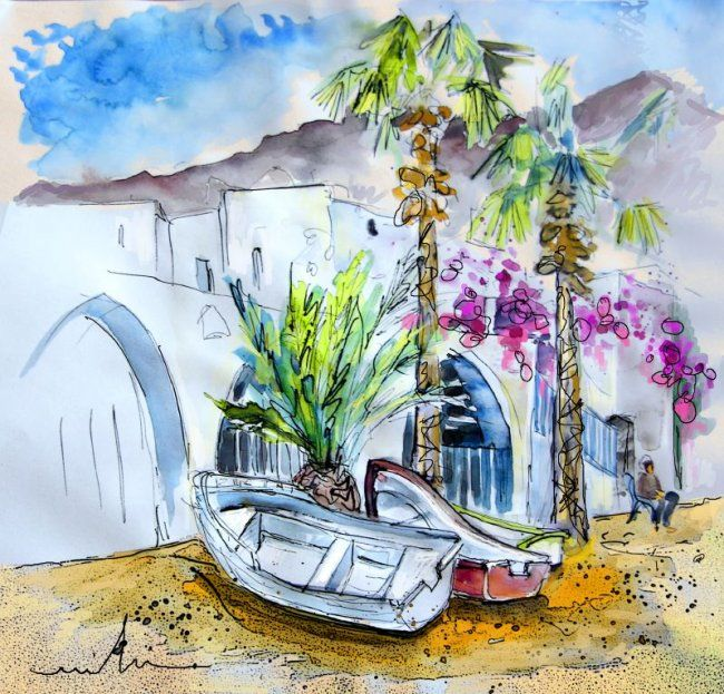 Agua Amarga 21 - Painting, ©2010 by Miki de Goodaboom -                                                                                                                                                                          Figurative, figurative-594, Watercolour and ink travel sketch of Agua Amarga in Andalusia Provincia de Almeria Spain