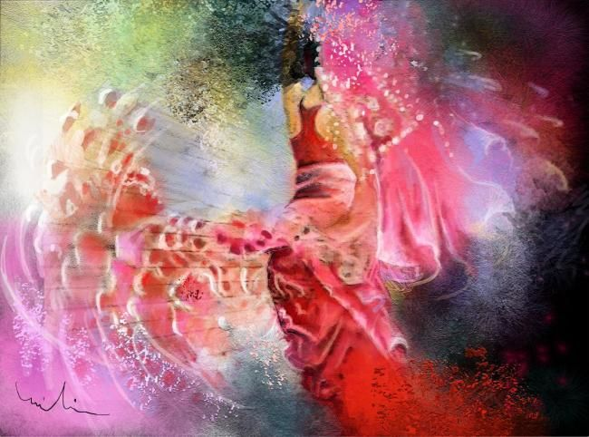 Flamencoscape 13 - Painting, ©2010 by Miki de Goodaboom -                                                              Colourful modern painting of a Spanish woman dancing performing flamenco