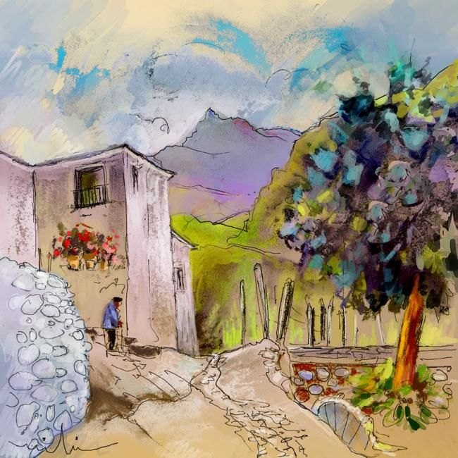 Trevelez 07 - © 2010 Pastel and ink impressionistic painting by Miki of Trevelez in the Sierra Nevada in the Alpujarras in Andalusia Spain Online Artworks