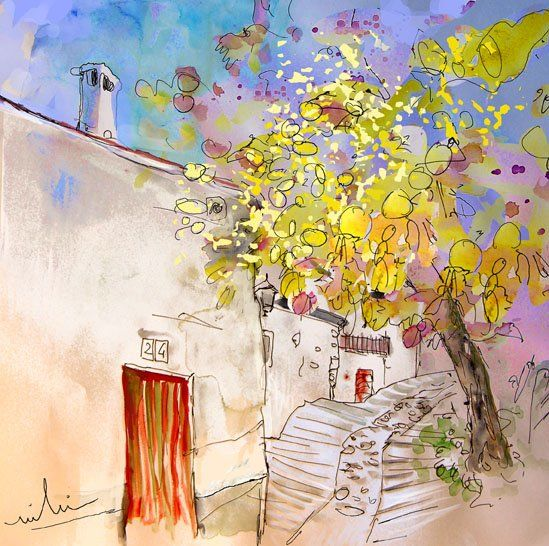 Trevelez 08 - Painting,  11.8x11.8 in, ©2010 by Miki de Goodaboom -                                                                                                                                                                                                                                                                                                                                                                                                                                                                                                                                                                                                                                      Expressionism, expressionism-591, Travel, travel, art, pastel, ink, Spain, Andalusia, Sierra Nevada, trevelez, townscape, trees