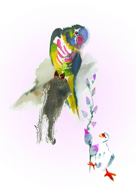 Please To Meet You - Painting, ©2010 by Miki de Goodaboom -                                                              Watercolour fun and humourous painting and greeting card of two birds in love