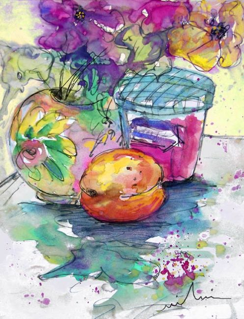 Big Marmalade - Painting, ©2010 by Miki de Goodaboom -                                                                                                                                                                                                                      Figurative, figurative-594, Watercolour and ink painting of a still life with fruit, jam pot and a flower bouquet
