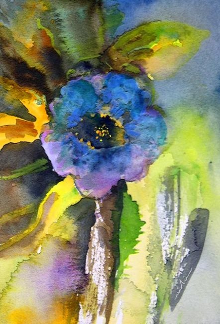 Princess of The Night - Painting, ©2010 by Miki de Goodaboom -                                                                                                                                                                          Figurative, figurative-594, Watercolour painting of a blue flower by Miki