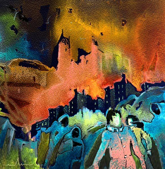 Expelled - Painting, ©2010 by Miki de Goodaboom -                                                              Fantasy acrulics dream painting of people and bad creatures and castles in the night