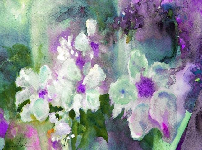 White Nights - Painting, ©2010 by Miki de Goodaboom -                                                                                                                                                                          Figurative, figurative-594, watercolour flower painting by Miki in Impressionist style