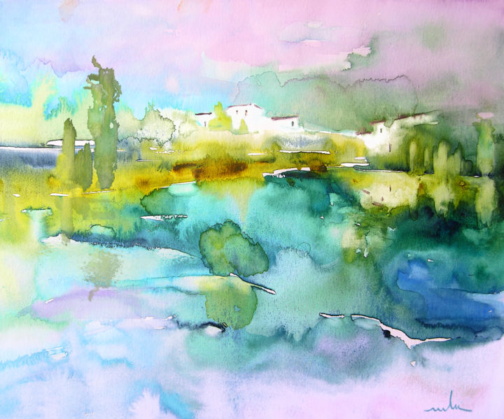 Dawn 02 - Painting, ©2010 by Miki de Goodaboom -                                                                                                                                                                                                                                                                                                                                                                                                                                                                                                                                                                                                                                                                                                                          Figurative, figurative-594, dawn, landscapes, light, impressionism, trees, skies, minimalism, simplicity, aquarelle, times, day, lose painting, free painting
