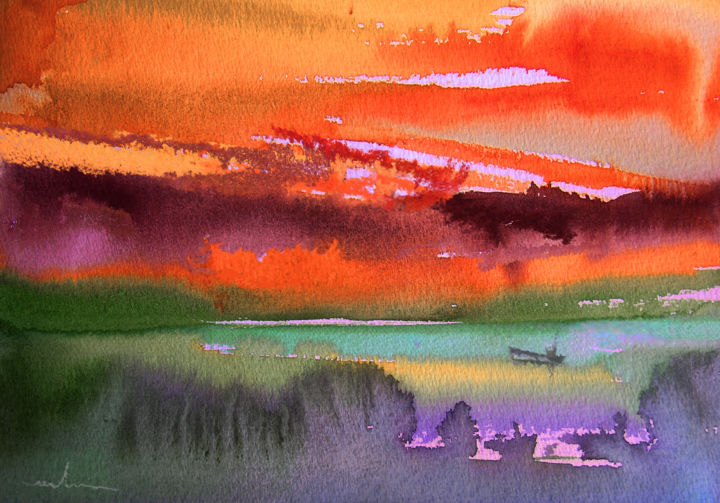 Sunset 04 - Painting, ©2010 by Miki de Goodaboom -                                                                                                                                                                                                                                                                                                                                                                                                                                                                                                                                                                                                                                                                                                                                                                      Figurative, figurative-594, landscapes, light, impressionism, trees, skies, minimalism, simplicity, aquarelle, times, day, lose painting, free painting, sunset, sunsets