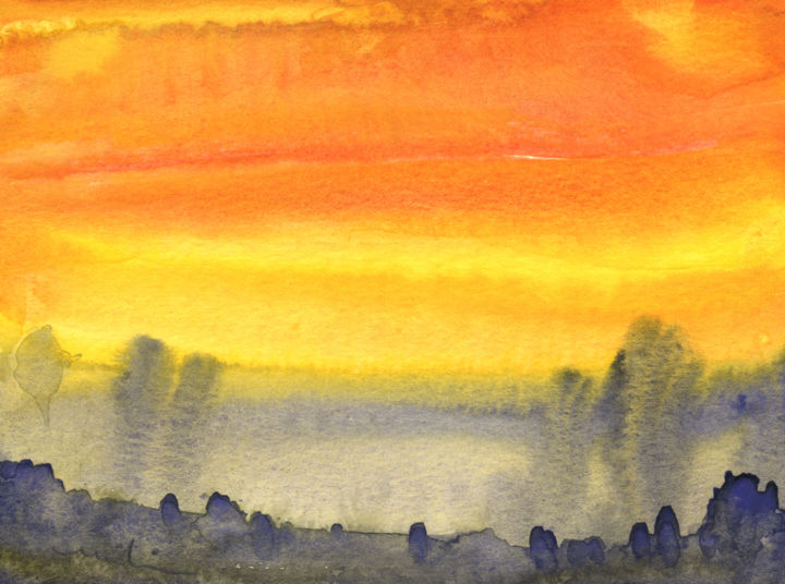 Sunset 05 - Painting,  5.9x7.9 in, ©2010 by Miki de Goodaboom -                                                                                                                                                                                                                                                                                                                                                                                                                                                                                                                                                                                                                                                                                                                                                                                                                      Expressionism, expressionism-591, Landscape, landscapes, light, impressionism, trees, skies, minimalism, simplicity, aquarelle, times, day, lose painting, free painting, sunset, sunsets