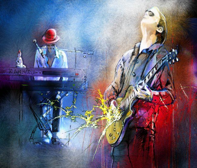 Joe Bonamassa and The Pianist - Painting, ©2010 by Miki de Goodaboom -                                                              Painting of the Pianist and Joe Bonamassa at his Concert in 2009 at the Royal Albert Hall in London