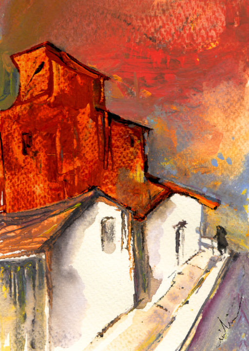 Sunset 19 - Painting, ©2010 by Miki de Goodaboom -                                                                                                                                                                                                                                                                                                                                                                                                                                                                                                                                                                                                                                                                                                                                                                                                                                                                                                                                                      Figurative, figurative-594, landscapes, light, impressionism, skies, minimalism, simplicity, aquarelle, times, day, lose painting, free painting, sunset, sunsets, village, villages, Spain, houses, old woman