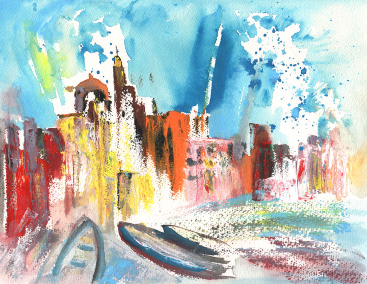 Imperia 03 - Painting, ©2011 by Miki de Goodaboom -                                                                                                                                                                                                                                                                                                                                                                                                                                                                                                                                                                                                                                                                                                                                                                                                                                                                                                          Figurative, figurative-594, italy, watercolour, ink drawing, travel sketch, landscapes, beaches, cities, townscape, seascape, sea, trees, buildings, boats, impressionism, italy art, art miki, nature