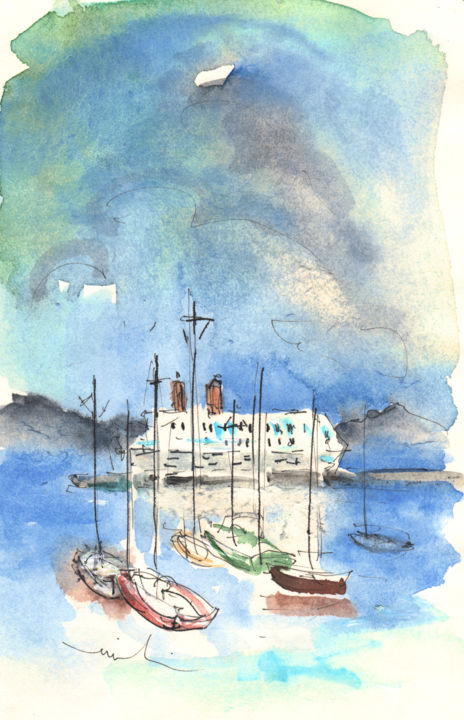 Santa Margherita 02 - Painting, ©2011 by Miki de Goodaboom -                                                                                                                                                                                                                                                                                                                                                                                                                                                                                                                                                                                                                                                                                                                                                                                                                                                                                                                                                                                                                                              Figurative, figurative-594, italy, watercolour, ink drawing, travel sketch, cities, townscape, trees, buildings, impressionism, italy art, art miki, nature, santa margherita, castle, riviera, boats, sea, seascape, cruises, ferry