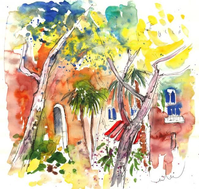 Santa Margherita 08 - Painting, ©2011 by Miki de Goodaboom -                                                                                                                                                                          Figurative, figurative-594, Watercolour and ink travel sketch in Impressionist style of the seatown Santa Margherita in Italy