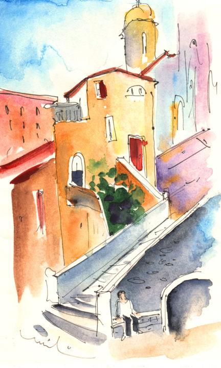 Camogli 01 - Painting, ©2011 by Miki de Goodaboom -                                                                                                                                                                                                                                                                                                                                                                                                                                                                                                                                                                                                                                                                                                                                                                      Abstract, abstract-570, Italy, watercolour, ink drawing, travel sketch, cities, townscape, buildings, impressionism, expressionism, Italy art, art Miki, Camogli, Italian architecture, church