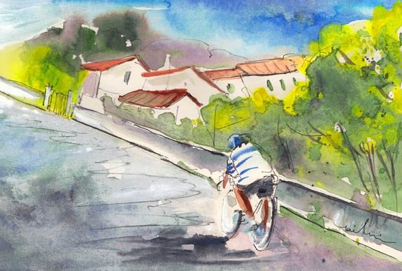 Cycling in Italy 01 - Peinture, ©2011 par Miki de Goodaboom -                                                                                                                                                                          Figurative, figurative-594, Watercolour and ink travel sketch painting in Impressionist style of a hobby cyclist in Tuscany in Italy
