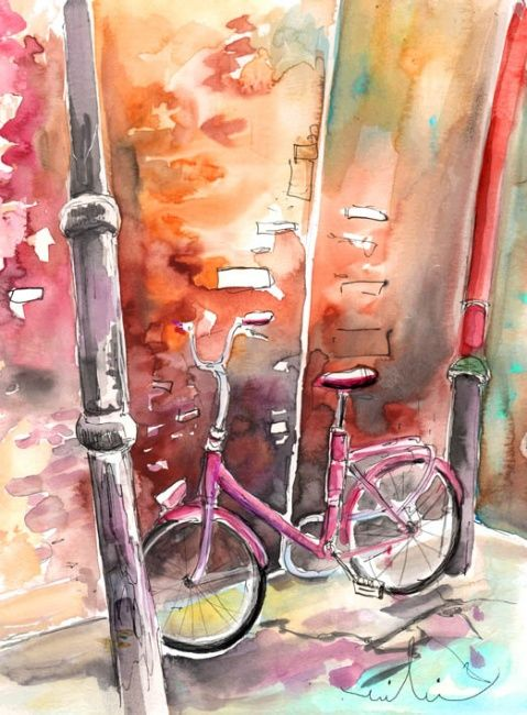 Cycling in Italy 02 - Painting,  16.5x11.8 in, ©2011 by Miki de Goodaboom -                                                                                                                                                                          Figurative, figurative-594, Watercolour and ink travel sketch painting in Impressionist style of a pink bicycle in Buenconvento in Tuscany in Italy