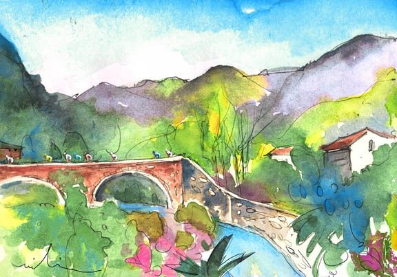 Cycling in Italy 05 - Painting, ©2011 by Miki de Goodaboom -                                                                                                                                                                          Figurative, figurative-594, Watercolour and ink travel sketch in Impressionist style of bike racers crossing a river on a bridge in Tuscany in Italy
