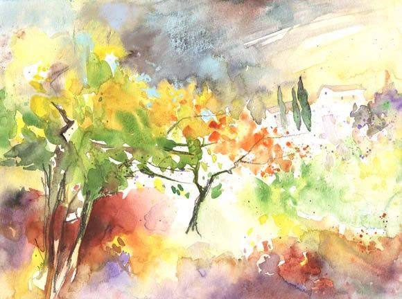 Spring on Planet Goodaboom - Painting, ©2012 by Miki de Goodaboom -                                                                                                                                                                          Figurative, figurative-594, Watercolour fantasy painting in impressionist style of a landscape in spring on an imaginary planet called Goodaboom