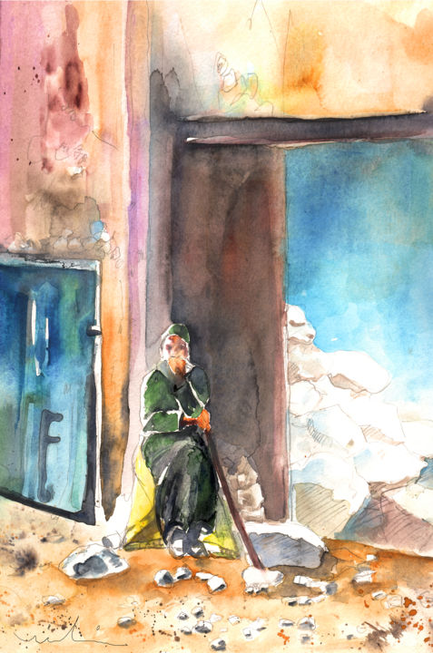 People painting houses - Old And Lonely In Morocco 02 Painting 2012 By Miki De Goodaboom Realism