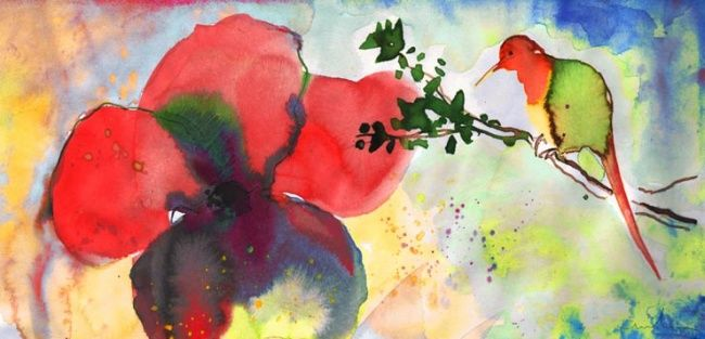 Close Encounter of The Fourth Kind - Painting ©2012 by Miki de Goodaboom -                            Figurative Art, Watercolour painting of a small bird and a big flower in an impressionist style