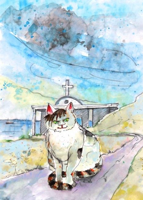 Cathedratical in Cyprus 01 - Painting, ©2012 by Miki de Goodaboom -                                                              Funny watercolour and ink travel sketch of a cat in a front of a church in Cape Gkreko near to Ayia Napa in Cyprus