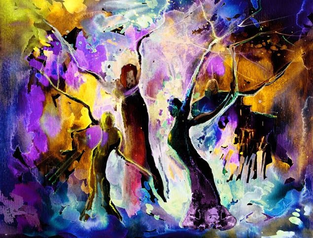 The Three Grace from Spain - Painting, ©2012 by Miki de Goodaboom -                                                              Fantasy colourful dream painting of three Grace in form of trees in Spain