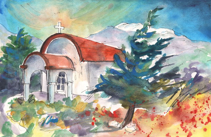 Little Church by Agia Galini - Painting, ©2012 by Miki de Goodaboom -                                                                                                                                                                                                                                                                                                                                                                                                                                                                                                                                          Abstract, abstract-570, Church, Agia Galini, Crete, Greek island, travel, art, Europe, Greece, Mediterranean