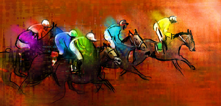 Horse Racing 01 - Painting, ©2012 by Miki de Goodaboom -                                                                                                                                                                                                                                                                                                                                                                                                                                                                                                                                                                                                                                  Figurative, figurative-594, sports, horses, animals, animal, horses racing, horse racing, impressionism, expressionism, steeplechase, horse jumping, Grand National