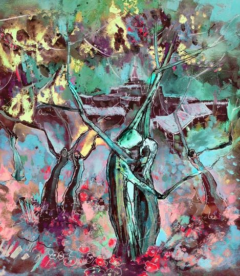 Nuptial Dance - Painting, ©2012 by Miki de Goodaboom -                                                                                                                                                                          Figurative, figurative-594, Fantasy and dream colourful modern Fantascape painting of a tree man and woman dancing their nuptial dance in the night
